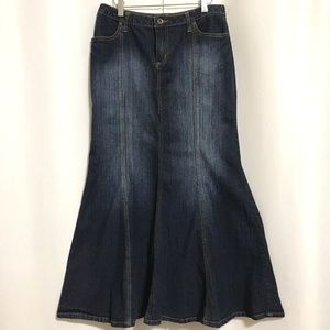 Mermaid Maxi Denim Jean Skirt Boho Hippie